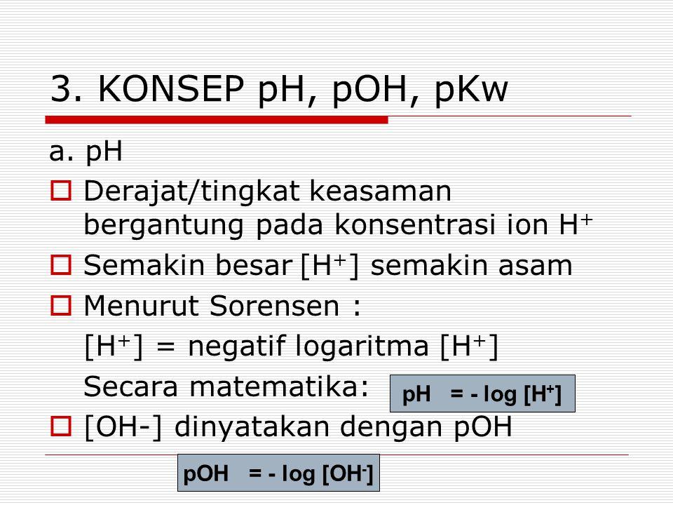 3. KONSEP pH, pOH, pKw a. pH  Derajat/tingkat keasaman bergantung pada konsentrasi ion H +  Semakin besar [H + ] semakin asam  Menurut Sorensen : [