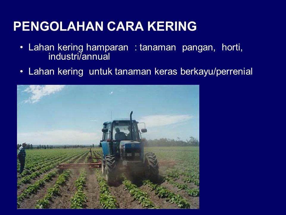Lahan kering hamparan : tanaman pangan, horti, industri/annual Lahan kering untuk tanaman keras berkayu/perrenial PENGOLAHAN CARA KERING