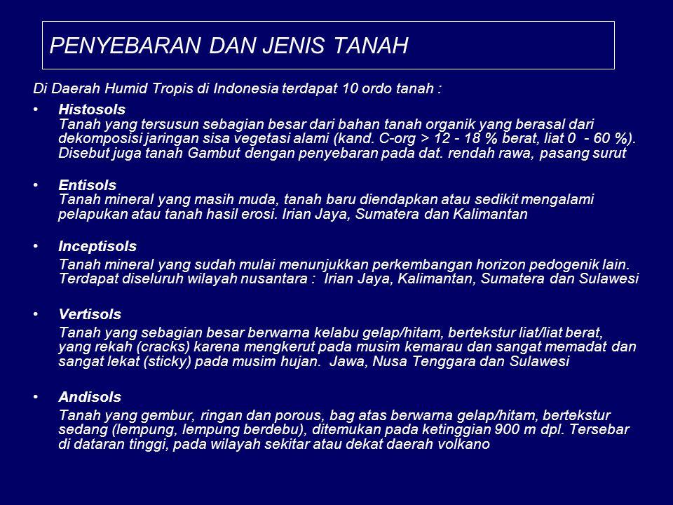 PENYEBARAN DAN JENIS TANAH Di Daerah Humid Tropis di Indonesia terdapat 10 ordo tanah : Histosols Tanah yang tersusun sebagian besar dari bahan tanah organik yang berasal dari dekomposisi jaringan sisa vegetasi alami (kand.