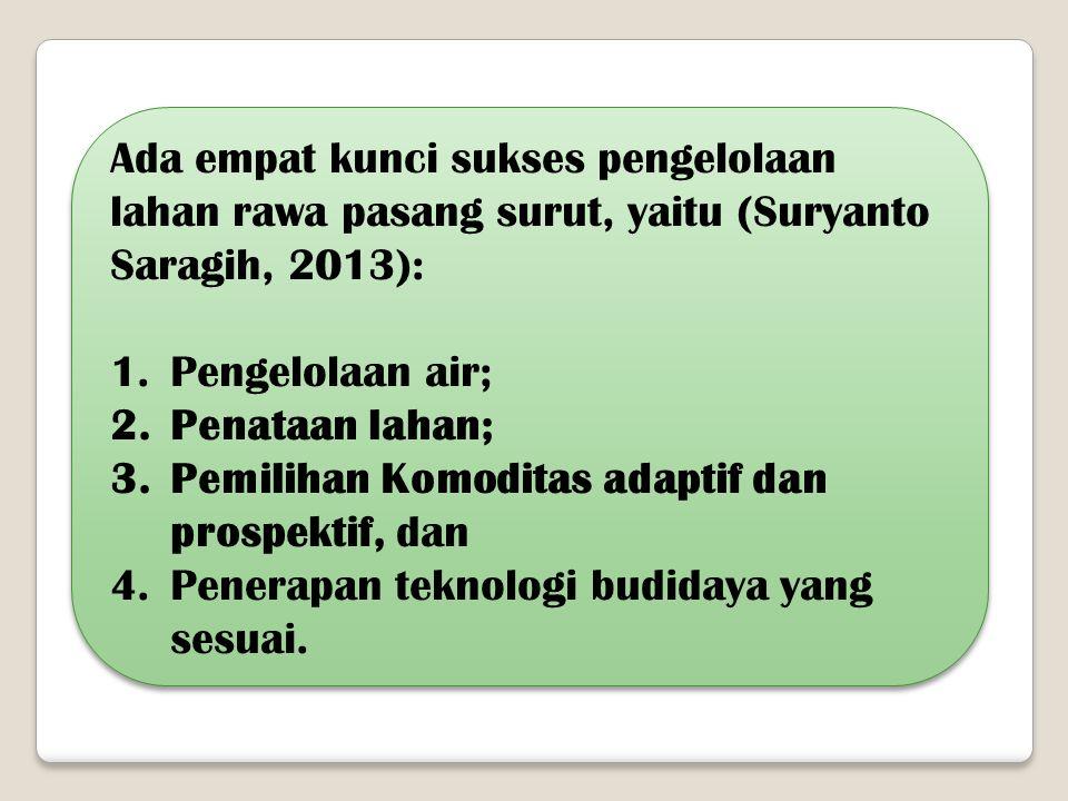 Ada empat kunci sukses pengelolaan lahan rawa pasang surut, yaitu (Suryanto Saragih, 2013): 1.Pengelolaan air; 2.Penataan lahan; 3.Pemilihan Komoditas