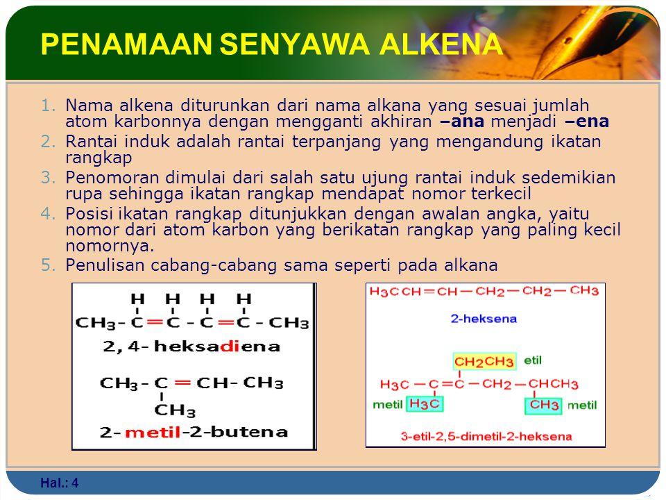 Hal.: 4 PENAMAAN SENYAWA ALKENA 1.Nama alkena diturunkan dari nama alkana yang sesuai jumlah atom karbonnya dengan mengganti akhiran –ana menjadi –ena 2.Rantai induk adalah rantai terpanjang yang mengandung ikatan rangkap 3.Penomoran dimulai dari salah satu ujung rantai induk sedemikian rupa sehingga ikatan rangkap mendapat nomor terkecil 4.Posisi ikatan rangkap ditunjukkan dengan awalan angka, yaitu nomor dari atom karbon yang berikatan rangkap yang paling kecil nomornya.