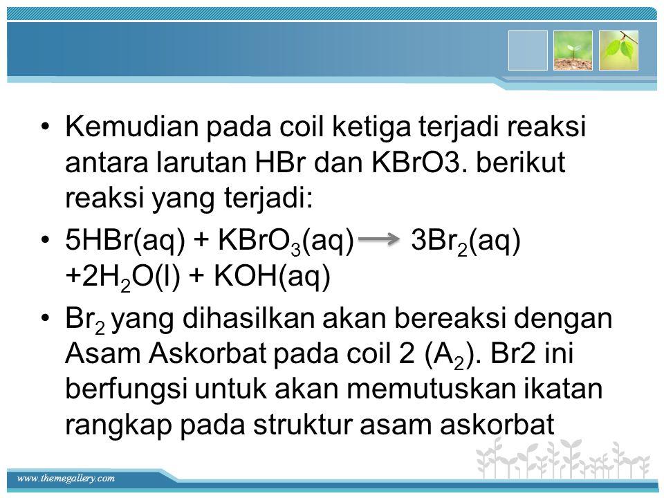 Kemudian pada coil ketiga terjadi reaksi antara larutan HBr dan KBrO3. berikut reaksi yang terjadi: 5HBr(aq) + KBrO 3 (aq) 3Br 2 (aq) +2H 2 O(l) + KOH