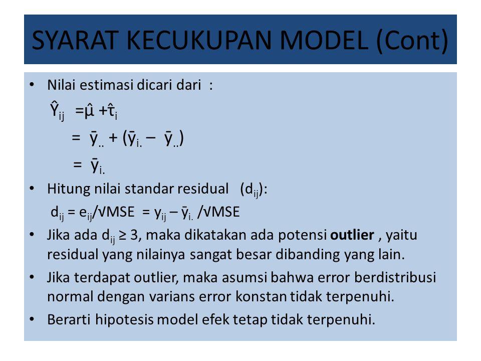 SYARAT KECUKUPAN MODEL (Cont) Nilai estimasi dicari dari : Ŷ ij =µ̂ +τ̂ i = ȳ.. + (ȳ i. – ȳ.. ) = ȳ i. Hitung nilai standar residual (d ij ): d ij