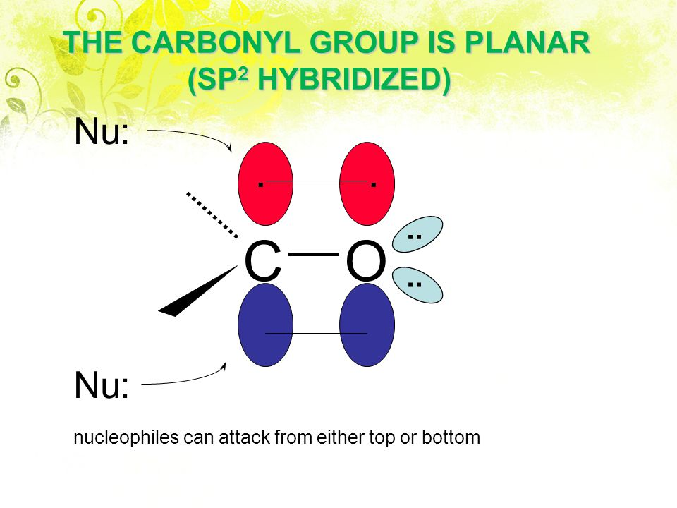 CO.... THE CARBONYL GROUP IS PLANAR (SP 2 HYBRIDIZED) (SP 2 HYBRIDIZED) nucleophiles can attack from either top or bottom Nu: