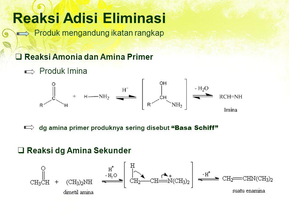 Reaksi Adisi Eliminasi Produk mengandung ikatan rangkap  Reaksi Amonia dan Amina Primer Produk Imina dg amina primer produknya sering disebut Basa Schiff  Reaksi dg Amina Sekunder