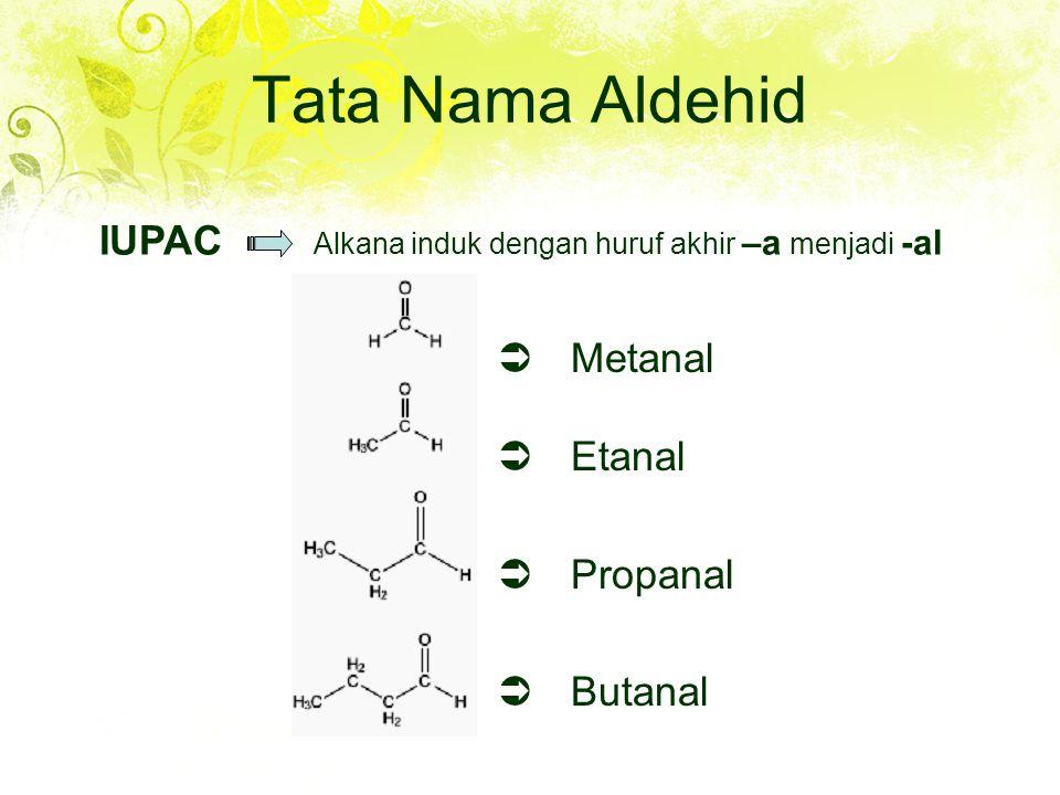Tata Nama Aldehid  Metanal  Etanal  Propanal  Butanal IUPAC Alkana induk dengan huruf akhir –a menjadi -al