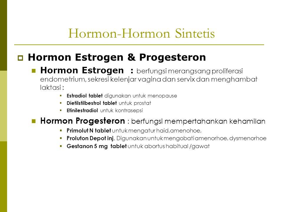 Hormon-Hormon Sintetis  Hormon Estrogen & Progesteron Hormon Estrogen : berfungsi merangsang proliferasi endometrium, sekresi kelenjar vagina dan ser
