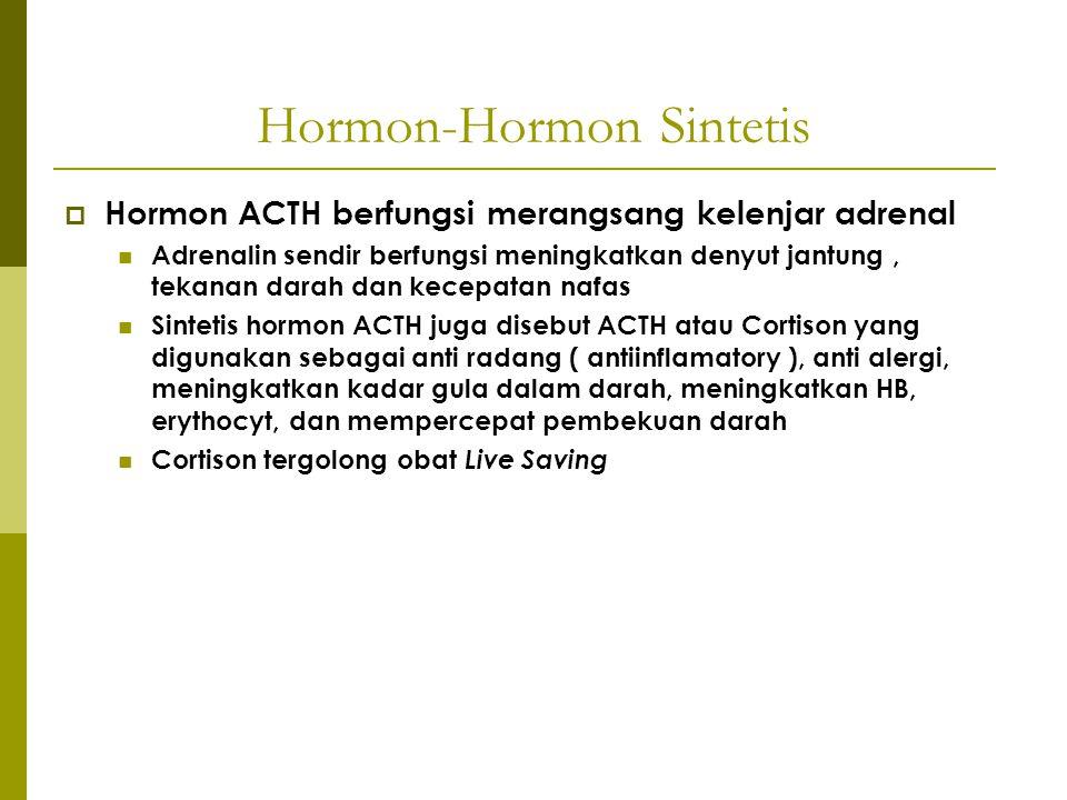Hormon-Hormon Sintetis  Hormon ACTH berfungsi merangsang kelenjar adrenal Adrenalin sendir berfungsi meningkatkan denyut jantung, tekanan darah dan k