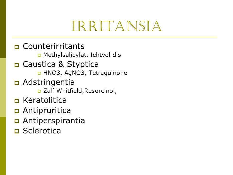 Irritansia  Counterirritants  Methylsalicylat, Ichtyol dls  Caustica & Styptica  HNO3, AgNO3, Tetraquinone  Adstringentia  Zalf Whitfield,Resorc