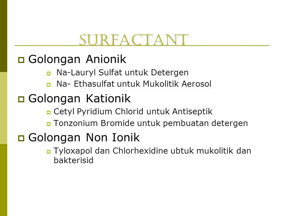Surfactant  Golongan Anionik  Na-Lauryl Sulfat untuk Detergen  Na- Ethasulfat untuk Mukolitik Aerosol  Golongan Kationik  Cetyl Pyridium Chlorid
