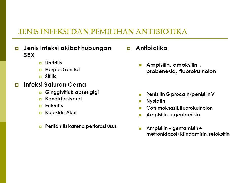 Jenis Infeksi dan Pemilihan Antibiotika  Jenis Infeksi akibat hubungan SEX  Uretritis  Herpes Genital  Sifilis  Infeksi Saluran Cerna  Ginggivit