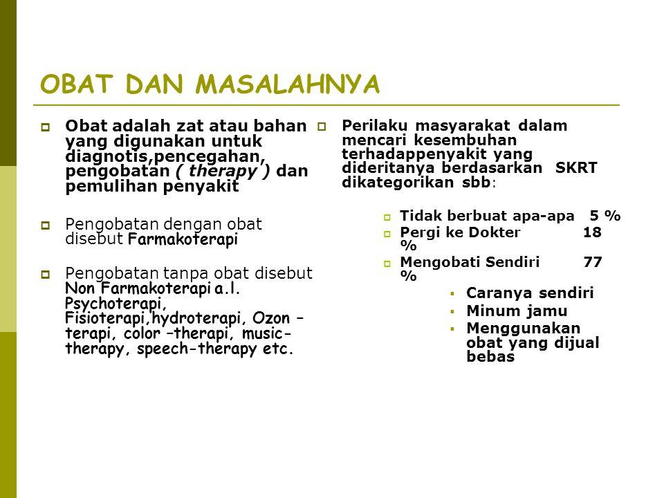OBAT DAN MASALAHNYA  Obat adalah zat atau bahan yang digunakan untuk diagnotis,pencegahan, pengobatan ( therapy ) dan pemulihan penyakit  Pengobatan