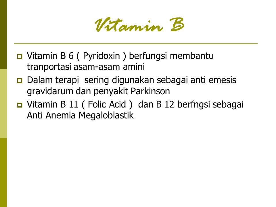 Vitamin B  Vitamin B 6 ( Pyridoxin ) berfungsi membantu tranportasi asam-asam amini  Dalam terapi sering digunakan sebagai anti emesis gravidarum da