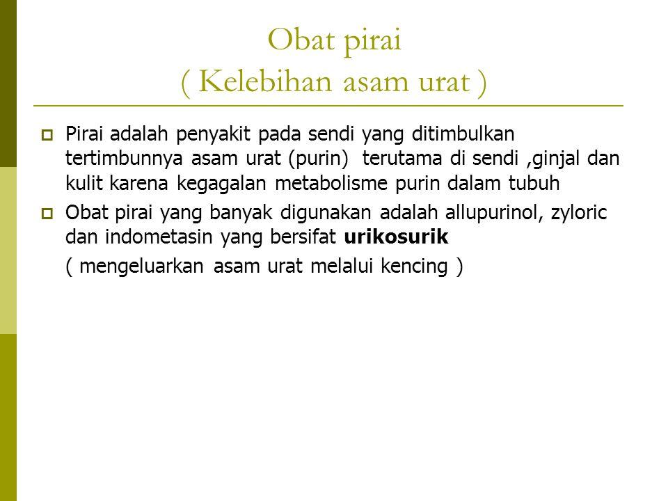 Obat pirai ( Kelebihan asam urat )  Pirai adalah penyakit pada sendi yang ditimbulkan tertimbunnya asam urat (purin) terutama di sendi,ginjal dan kul