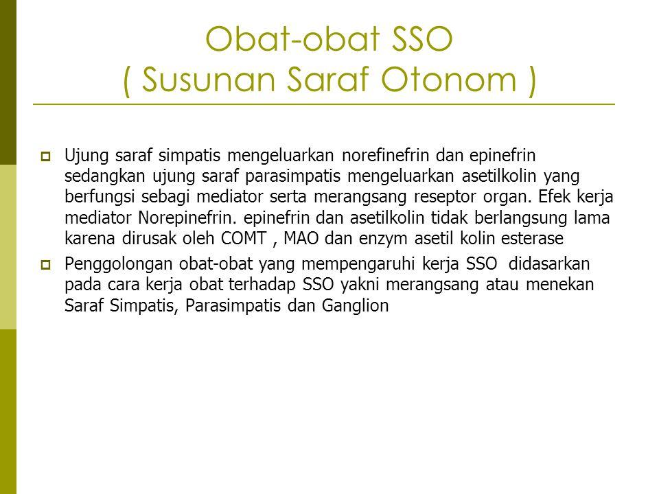 Obat-obat SSO ( Susunan Saraf Otonom )  Ujung saraf simpatis mengeluarkan norefinefrin dan epinefrin sedangkan ujung saraf parasimpatis mengeluarkan