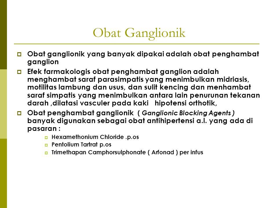 Obat Ganglionik  Obat ganglionik yang banyak dipakai adalah obat penghambat ganglion  Efek farmakologis obat penghambat ganglion adalah menghambat s