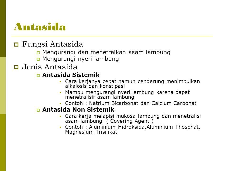 Antasida  Fungsi Antasida  Mengurangi dan menetralkan asam lambung  Mengurangi nyeri lambung  Jenis Antasida  Antasida Sistemik  Cara kerjanya c