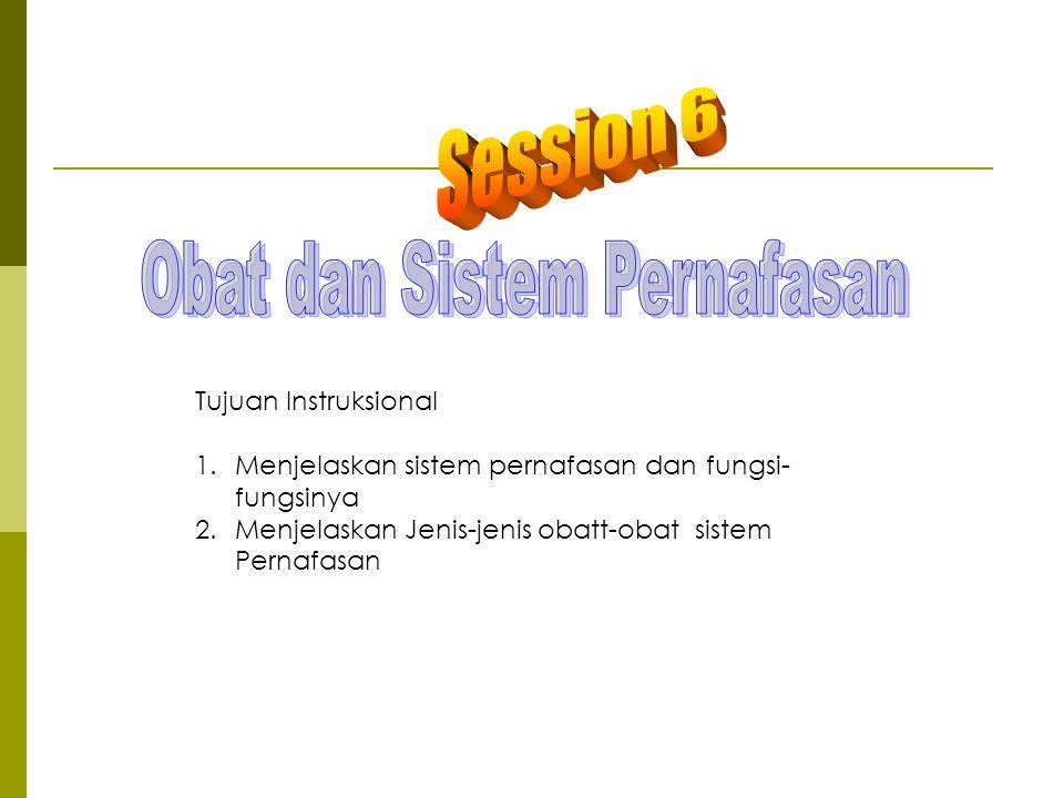 Tujuan Instruksional 1.Menjelaskan sistem pernafasan dan fungsi- fungsinya 2.Menjelaskan Jenis-jenis obatt-obat sistem Pernafasan