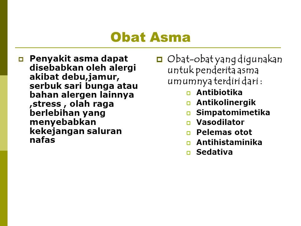 Obat Asma  Penyakit asma dapat disebabkan oleh alergi akibat debu,jamur, serbuk sari bunga atau bahan alergen lainnya,stress, olah raga berlebihan ya