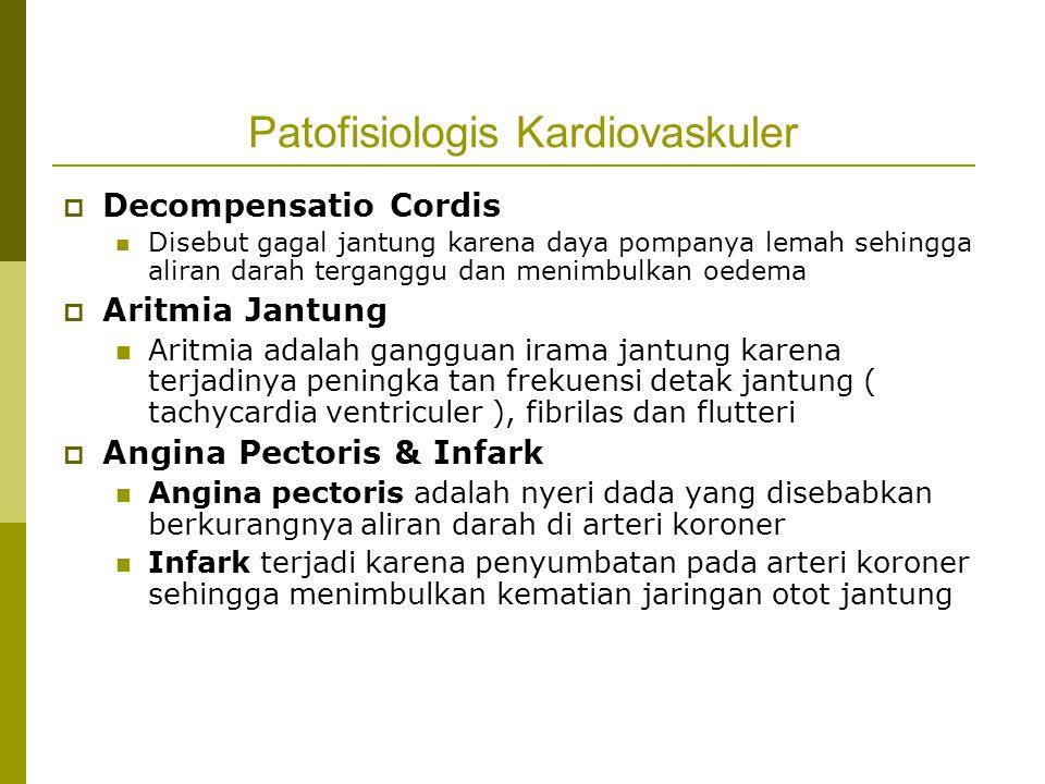 Patofisiologis Kardiovaskuler  Decompensatio Cordis Disebut gagal jantung karena daya pompanya lemah sehingga aliran darah terganggu dan menimbulkan