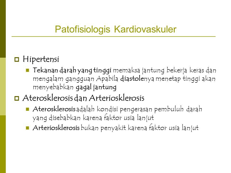 Patofisiologis Kardiovaskuler  Hipertensi Tekanan darah yang tinggi memaksa jantung bekerja keras dan mengalam gangguan Apabila diastolenya menetap t