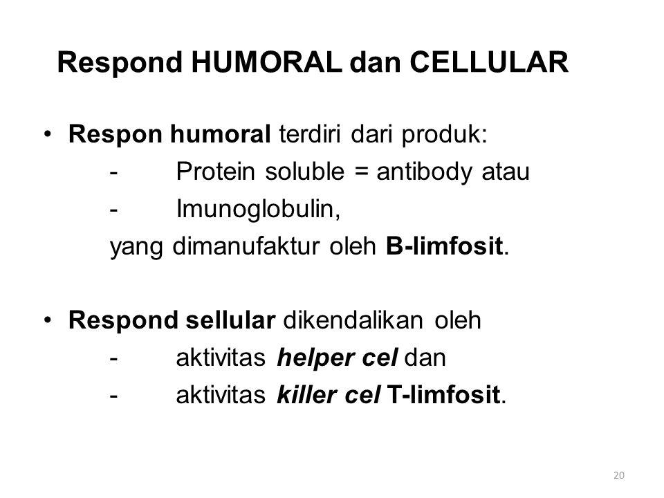 Respond HUMORAL dan CELLULAR Respon humoral terdiri dari produk: -Protein soluble = antibody atau -Imunoglobulin, yang dimanufaktur oleh B-limfosit.
