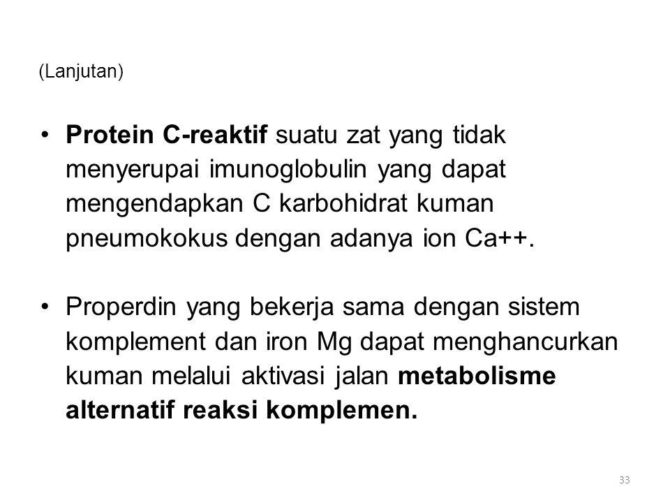 (Lanjutan) Protein C-reaktif suatu zat yang tidak menyerupai imunoglobulin yang dapat mengendapkan C karbohidrat kuman pneumokokus dengan adanya ion Ca++.