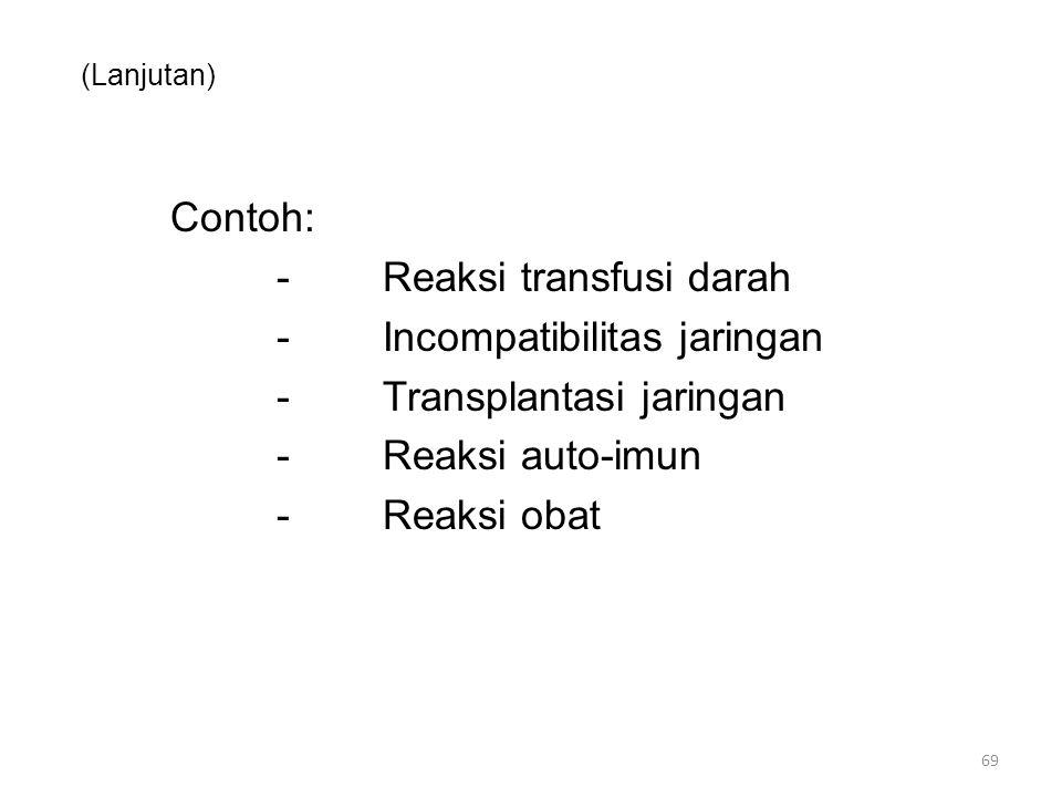 (Lanjutan) Contoh: -Reaksi transfusi darah -Incompatibilitas jaringan -Transplantasi jaringan -Reaksi auto-imun -Reaksi obat 69