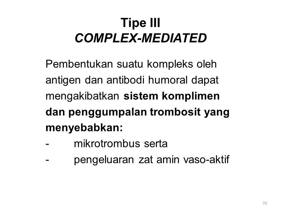 Tipe III COMPLEX-MEDIATED Pembentukan suatu kompleks oleh antigen dan antibodi humoral dapat mengakibatkan sistem komplimen dan penggumpalan trombosit yang menyebabkan: -mikrotrombus serta -pengeluaran zat amin vaso-aktif 70