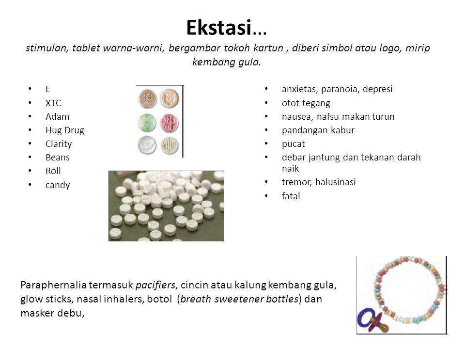 Ekstasi… stimulan, tablet warna-warni, bergambar tokoh kartun, diberi simbol atau logo, mirip kembang gula. E XTC Adam Hug Drug Clarity Beans Roll can