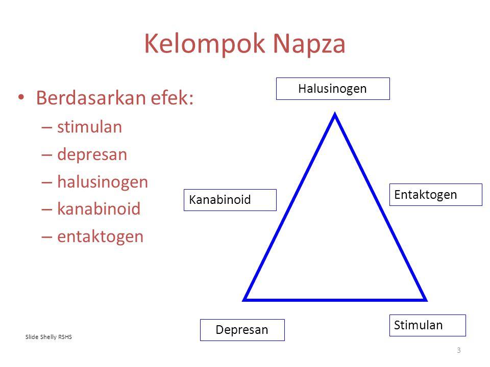 Kelompok Napza Berdasarkan efek: – stimulan – depresan – halusinogen – kanabinoid – entaktogen Halusinogen Depresan Stimulan Entaktogen Kanabinoid Sli
