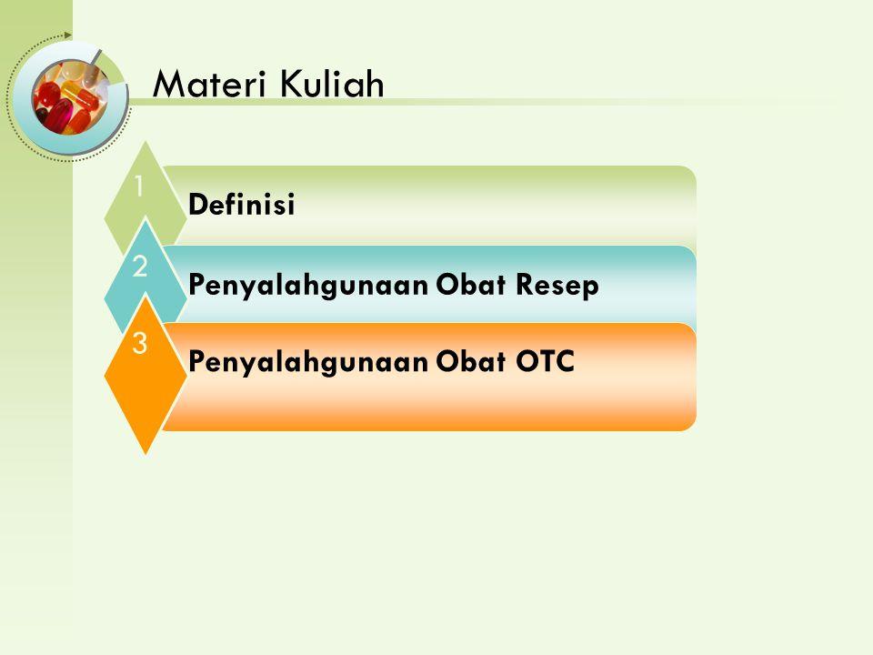 Materi Kuliah Definisi 1 Penyalahgunaan Obat Resep 2 Penyalahgunaan Obat OTC 3