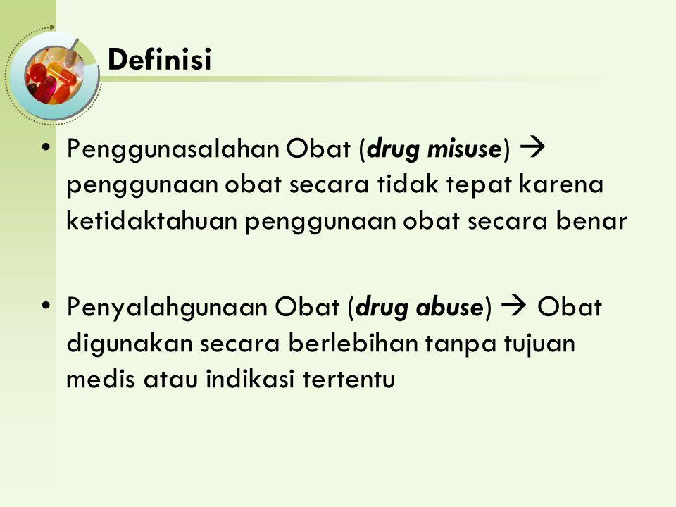 Definisi Penggunasalahan Obat (drug misuse)  penggunaan obat secara tidak tepat karena ketidaktahuan penggunaan obat secara benar Penyalahgunaan Obat (drug abuse)  Obat digunakan secara berlebihan tanpa tujuan medis atau indikasi tertentu