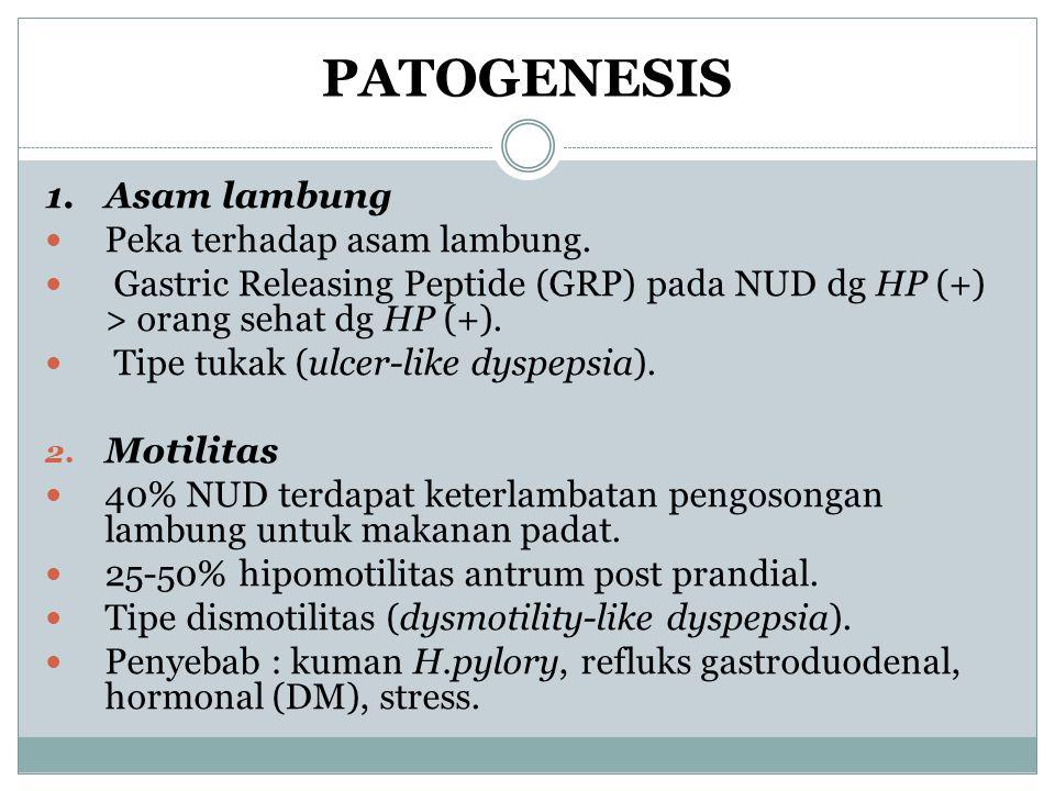 PATOGENESIS 1.Asam lambung Peka terhadap asam lambung. Gastric Releasing Peptide (GRP) pada NUD dg HP (+) > orang sehat dg HP (+). Tipe tukak (ulcer-l