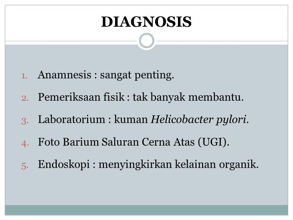DIAGNOSIS 1. Anamnesis : sangat penting. 2. Pemeriksaan fisik : tak banyak membantu. 3. Laboratorium : kuman Helicobacter pylori. 4. Foto Barium Salur
