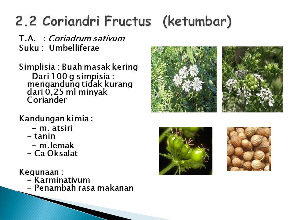 T.A. : Coriadrum sativum Suku : Umbelliferae Simplisia : Buah masak kering Dari 100 g simpisia : mengandung tidak kurang dari 0,25 ml minyak Coriander