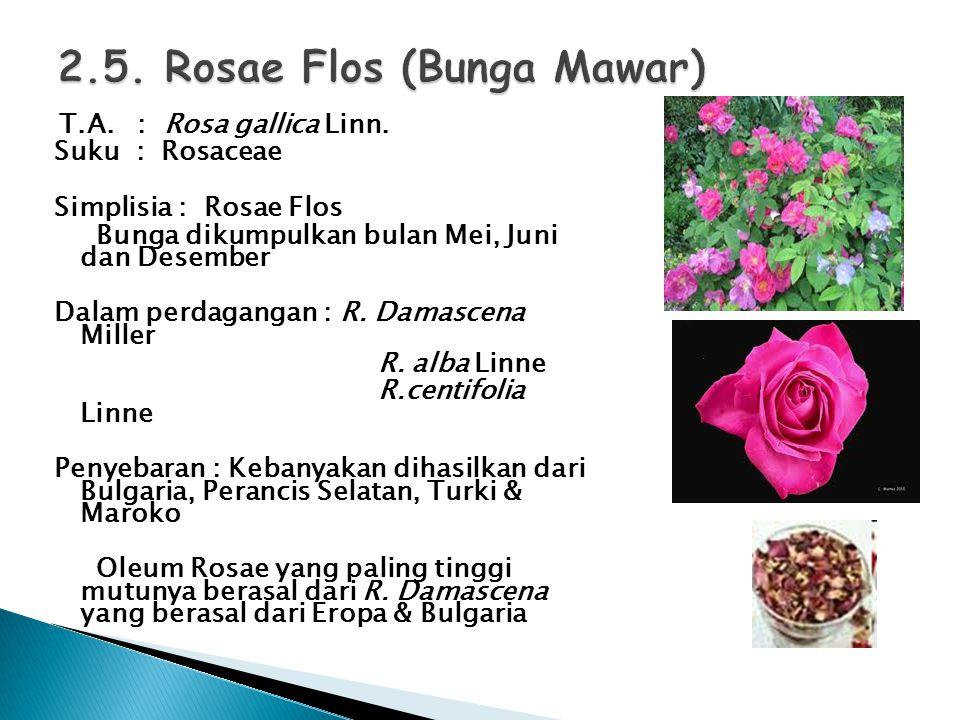 T.A. : Rosa gallica Linn. Suku : Rosaceae Simplisia : Rosae Flos Bunga dikumpulkan bulan Mei, Juni dan Desember Dalam perdagangan : R. Damascena Mille