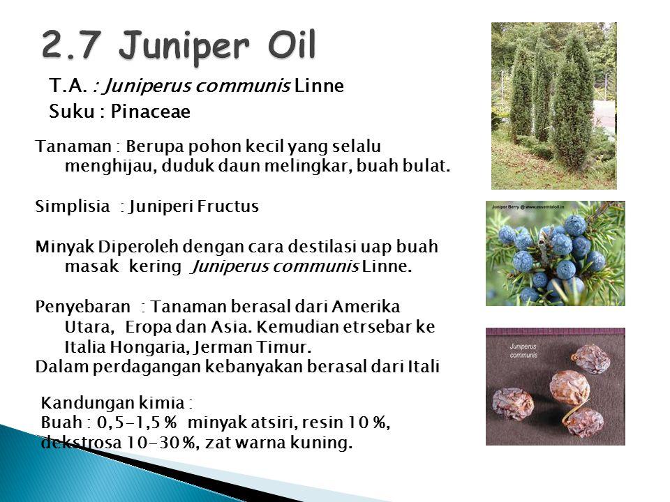 T.A. : Juniperus communis Linne Suku : Pinaceae Tanaman : Berupa pohon kecil yang selalu menghijau, duduk daun melingkar, buah bulat. Simplisia : Juni