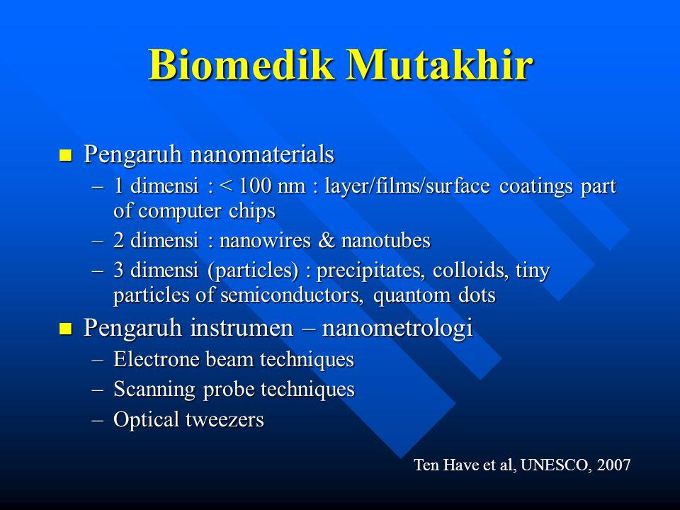 Biomedik Mutakhir n Pengaruh nanomaterials –1 dimensi : < 100 nm : layer/films/surface coatings part of computer chips –2 dimensi : nanowires & nanotu