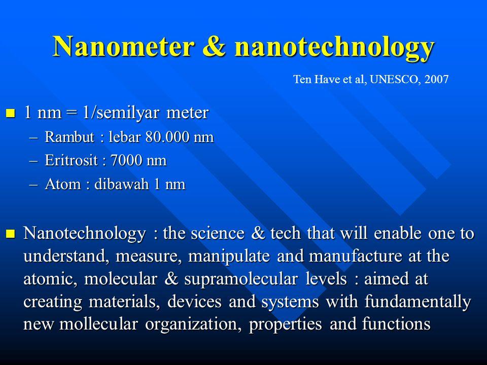 Nanometer & nanotechnology n 1 nm = 1/semilyar meter –Rambut : lebar 80.000 nm –Eritrosit : 7000 nm –Atom : dibawah 1 nm n Nanotechnology : the scienc