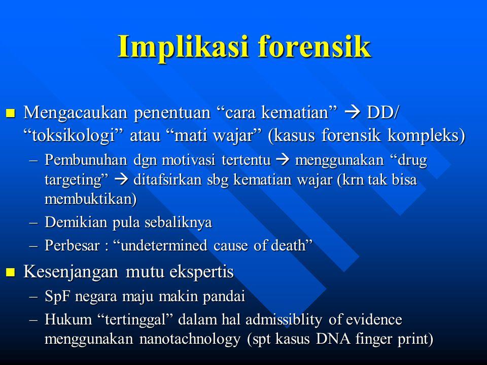 """Implikasi forensik n Mengacaukan penentuan """"cara kematian""""  DD/ """"toksikologi"""" atau """"mati wajar"""" (kasus forensik kompleks) –Pembunuhan dgn motivasi te"""