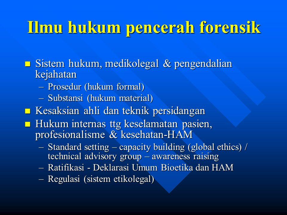 Ilmu hukum pencerah forensik n Sistem hukum, medikolegal & pengendalian kejahatan –Prosedur (hukum formal) –Substansi (hukum material) n Kesaksian ahl
