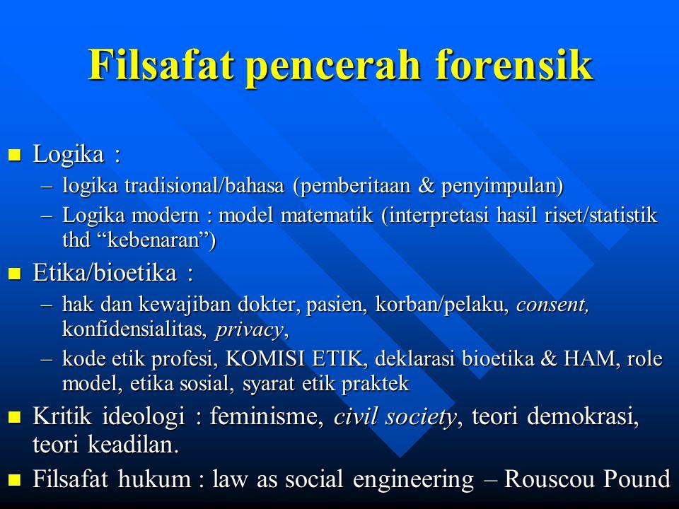 Filsafat pencerah forensik n Logika : –logika tradisional/bahasa (pemberitaan & penyimpulan) –Logika modern : model matematik (interpretasi hasil rise