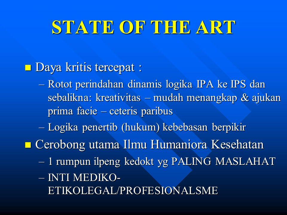 STATE OF THE ART n Daya kritis tercepat : –Rotot perindahan dinamis logika IPA ke IPS dan sebalikna: kreativitas – mudah menangkap & ajukan prima faci