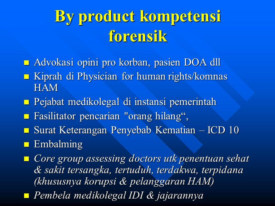By product kompetensi forensik n Advokasi opini pro korban, pasien DOA dll n Kiprah di Physician for human rights/komnas HAM n Pejabat medikolegal di