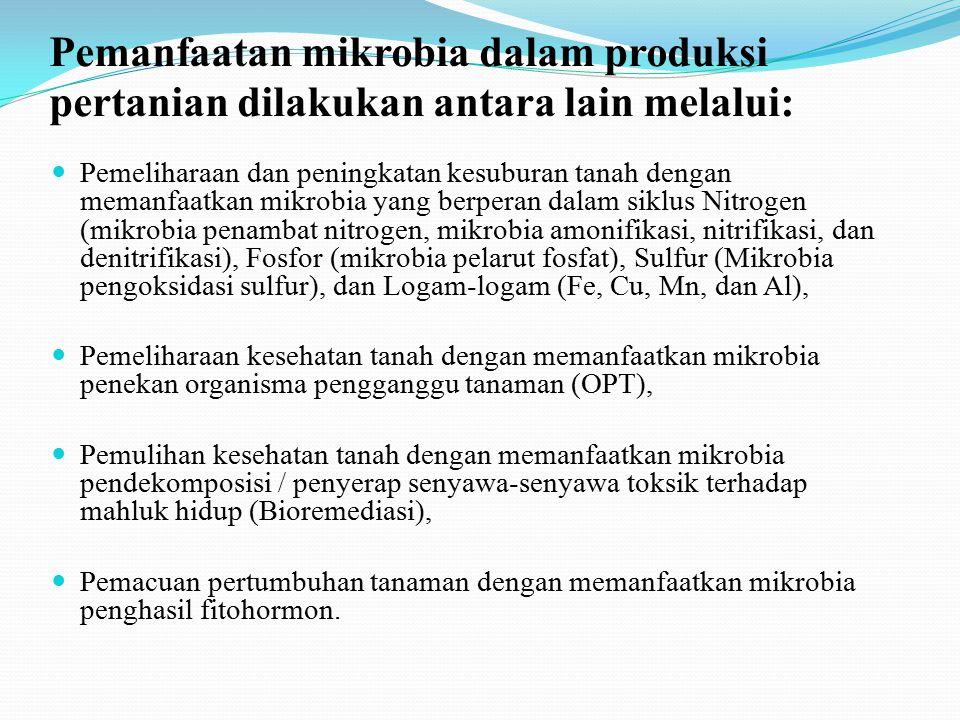 Mikrobiologi Pertanian Merupakan penggunaan mikrobiologi untuk tujuan memecahkan masalah-masalah praktis di bidang pertanian. Mempelajari dan memanfaa