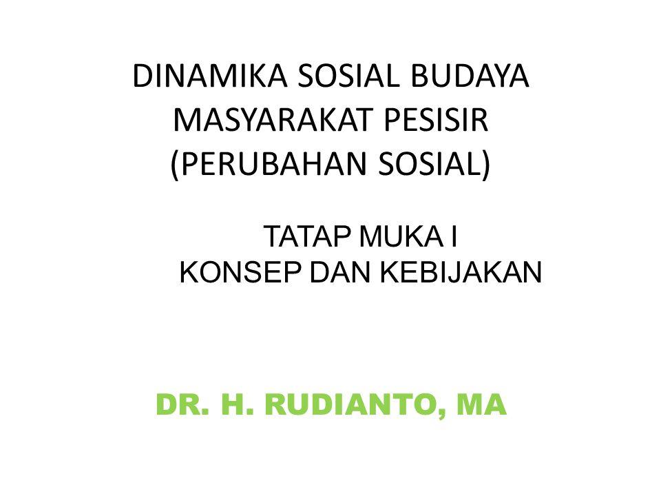 DINAMIKA SOSIAL BUDAYA MASYARAKAT PESISIR (PERUBAHAN SOSIAL) DR. H. RUDIANTO, MA TATAP MUKA I KONSEP DAN KEBIJAKAN
