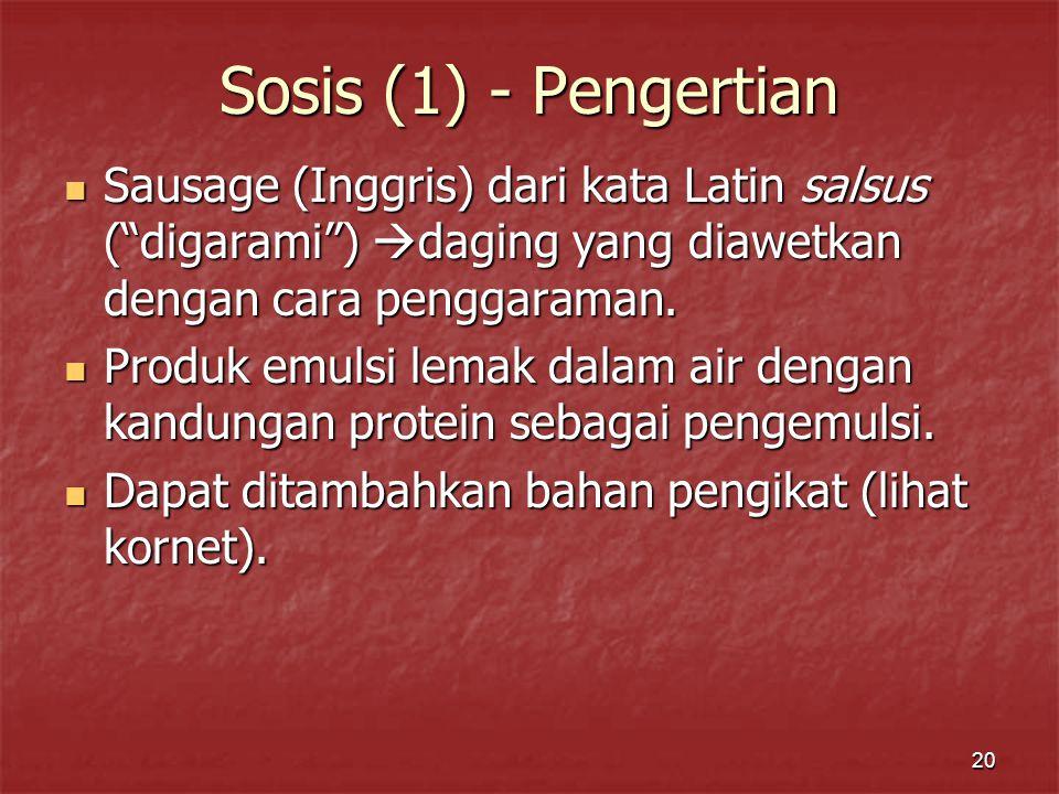 """20 Sosis (1) - Pengertian Sausage (Inggris) dari kata Latin salsus (""""digarami"""")  daging yang diawetkan dengan cara penggaraman. Sausage (Inggris) dar"""