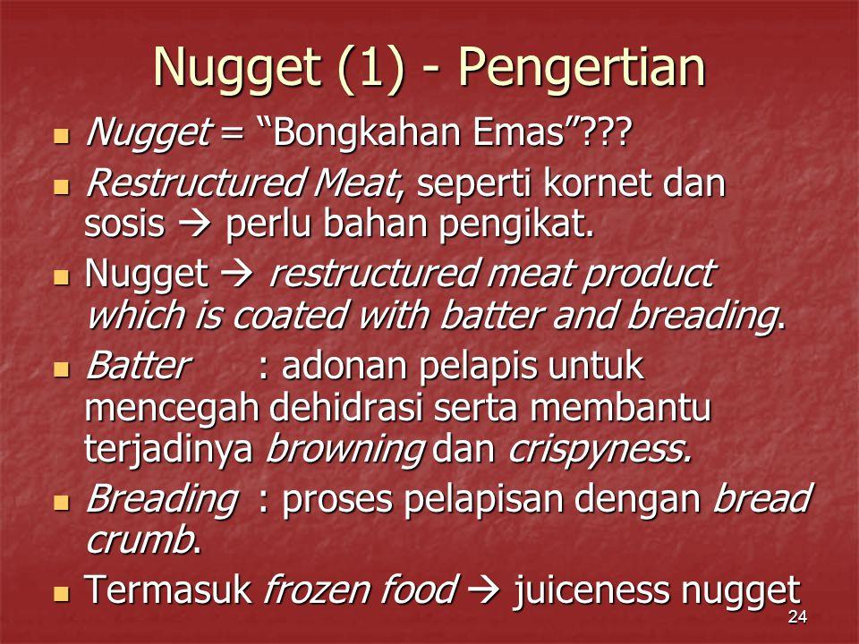"""24 Nugget (1) - Pengertian Nugget = """"Bongkahan Emas""""??? Nugget = """"Bongkahan Emas""""??? Restructured Meat, seperti kornet dan sosis  perlu bahan pengika"""
