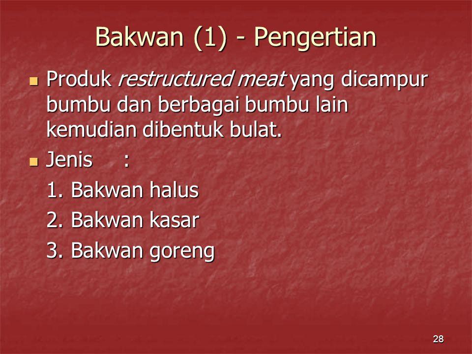 28 Bakwan (1) - Pengertian Produk restructured meat yang dicampur bumbu dan berbagai bumbu lain kemudian dibentuk bulat.